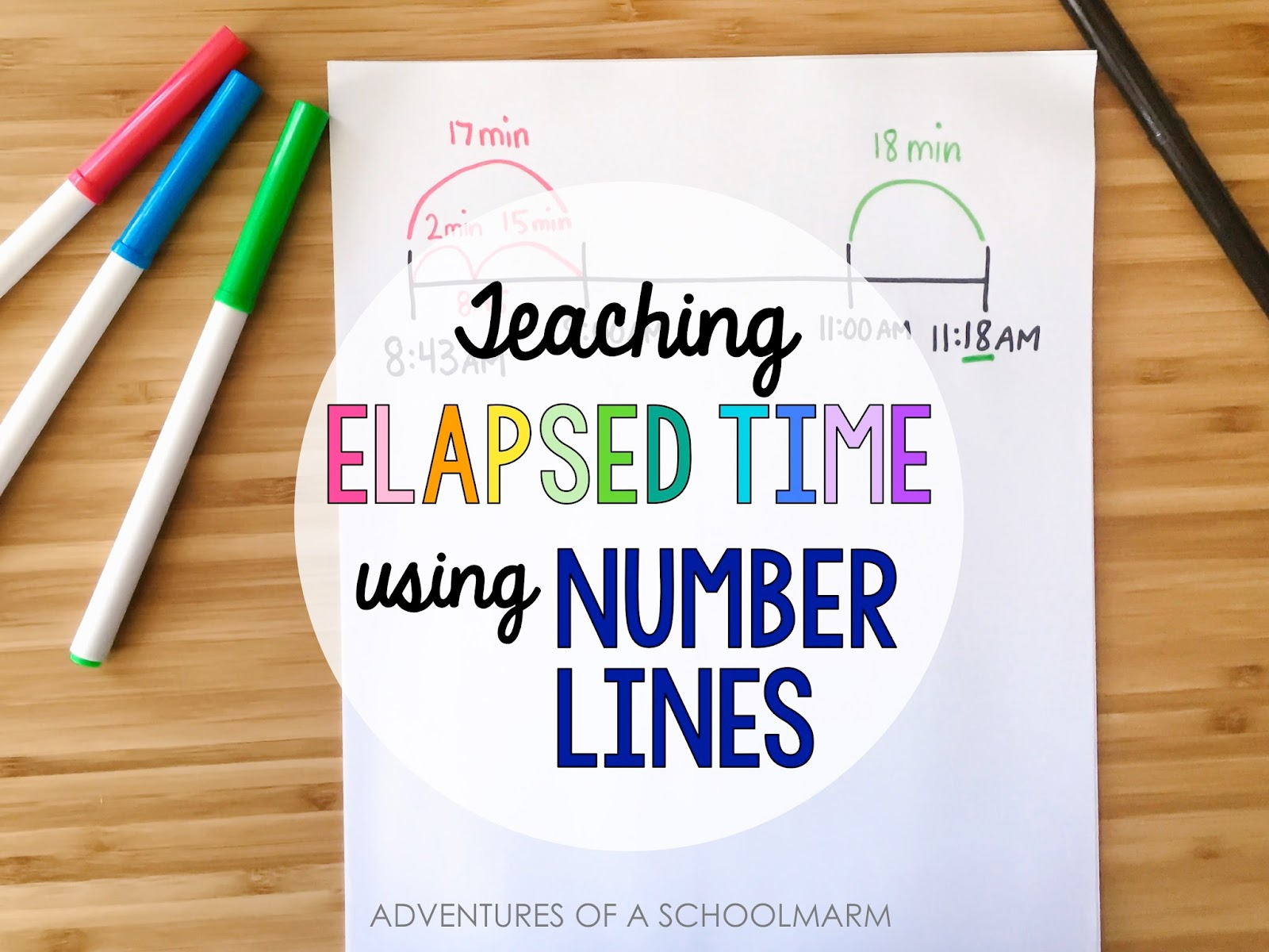 Are your students struggling to learn elapsed time? There are a variety of methods and strategies for teaching elapsed time, but using a number line is one of my favorites. // Adventures of a Schoolmarm