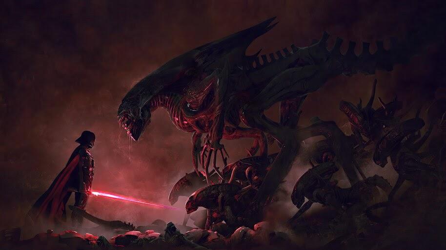 Darth Vader, Star Wars vs Aliens, Fantasy, Sci-Fi, 4K, #6.765
