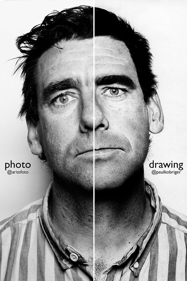02-Drawing-Vs-Photo-Paul-Kobriger-Ballpoint-Pen-Portrait-Drawings-Stippling-and-Scribble-www-designstack-co