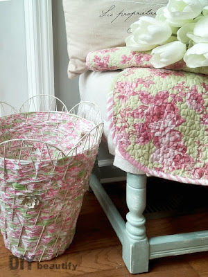 Follow the instructions at DIY beautify to weave a wire basket with fabric!