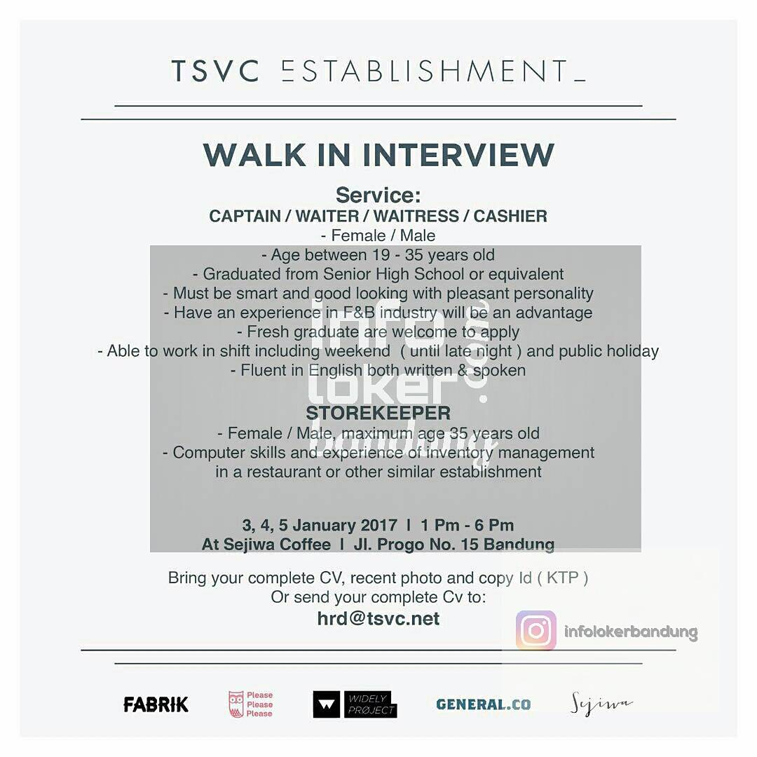 Walk In Interview TSVC Establishment  Januari 2016