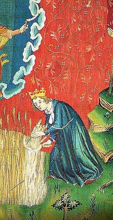 O Grande Monarca ceifa a Terra com seu exército. Tapeçaria do Apocalipse, Angers, França.