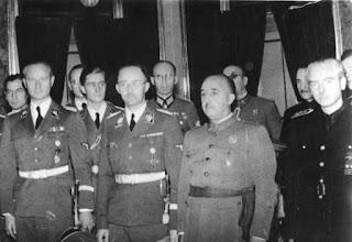 Karl Wolff, Heinrich Himmler y Franco. Madrid, 1940
