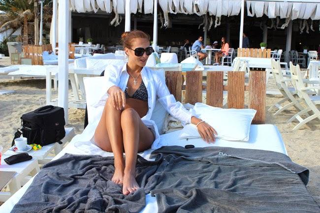 Kuzina beach bar restaurant Ornos beach Mykonos island