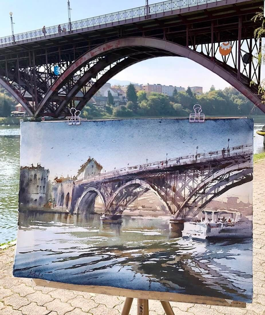 06-Maribor-Slovenia-Bridge-Anastasia-Kústova-Architectural-Watercolor-Paintings-En-Plein-Air-www-designstack-co