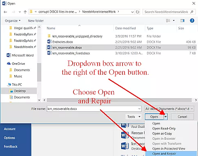 Where to find Open and Repair in the Word Open Window