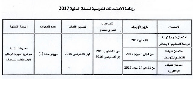 تاريج اجراء امتحان بكالوريا 2017