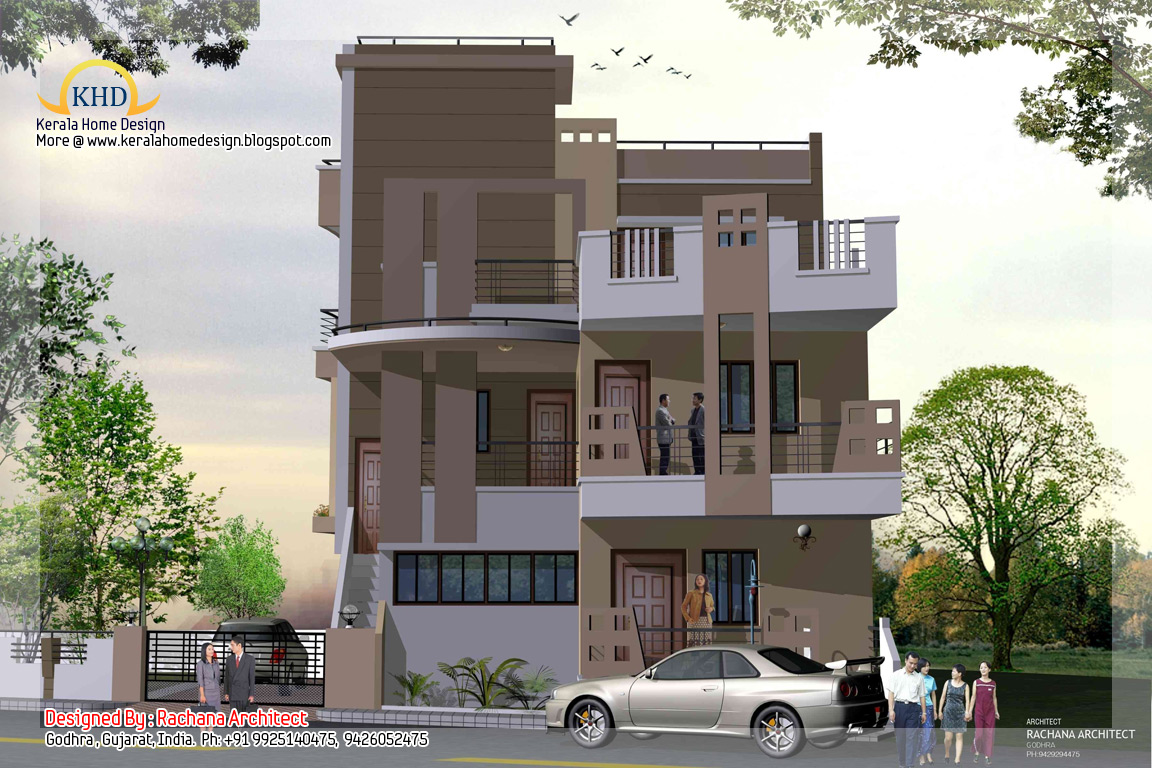 Front Elevation Of Three Storied Houses : Story house plan and elevation sq ft kerala