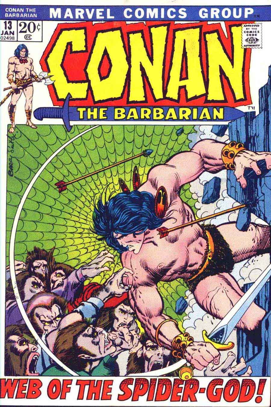 Conan the Barbarian v1 #13 marvel comic book cover art by Barry Windsor Smith