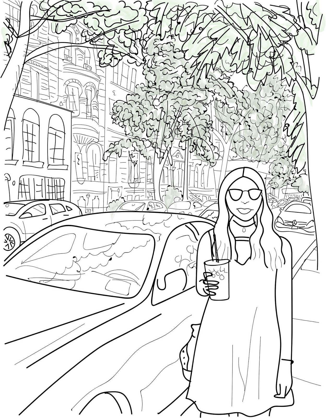 illustration of girl in upper west side, nyc