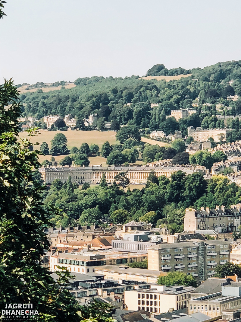 view of bath and royal crescent from alexandra park