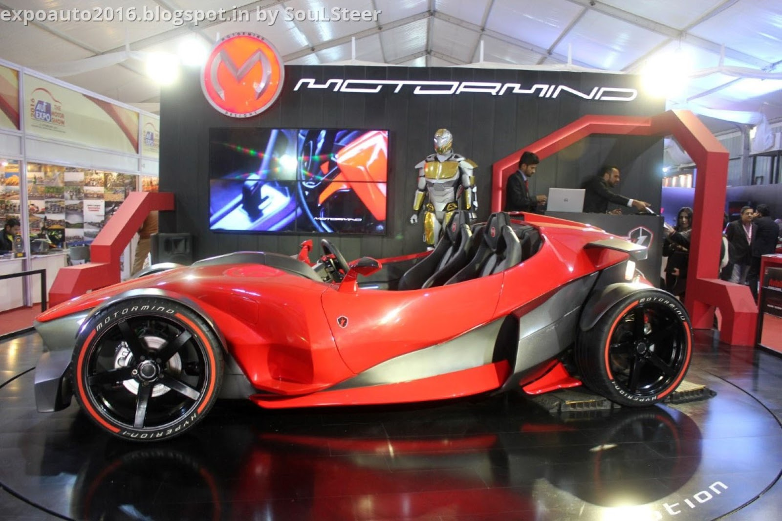 auto expo 2016soulsteer: motormind hyperion 1 sports car concept