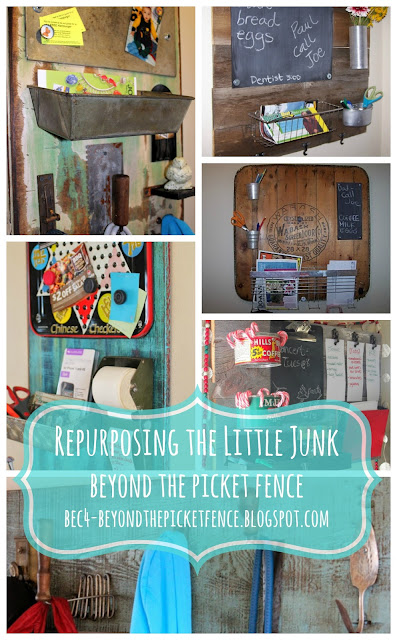 repurposed, junk, message board, memo board, coat hook, http://bec4-beyondthepicketfence.blogspot.com/2016/03/repurposing-little-junk.html