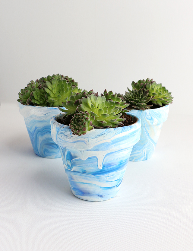 DIY Marbled Terra Cotta Pots