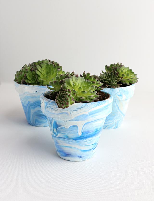 DIY Marbled Terra Cotta Pots