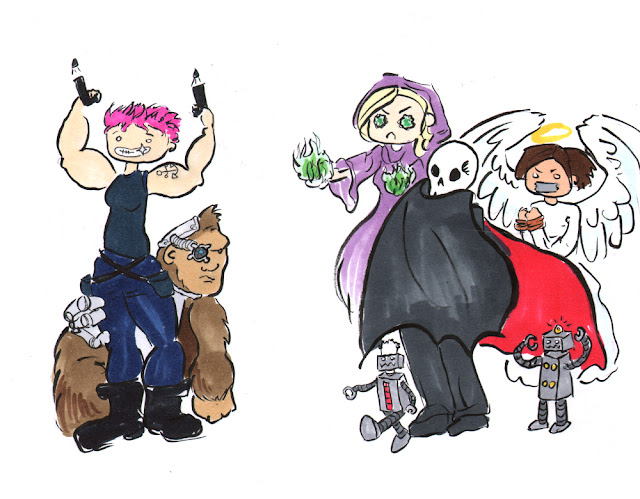 A group shot featuring a gun toting woman with pink hair, a cyborg gorilla, a man with a cape and a scull for a head, two small robots, a witch in purple robes with green fireballs, and an angel who has been bound and gagged.