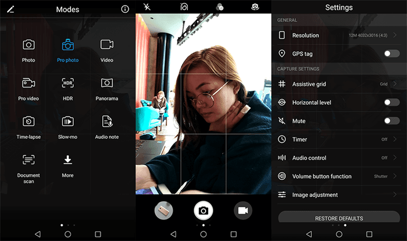 Camera modes, interface, and settings