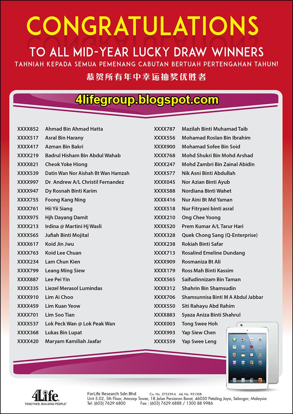 foto Senarai Pemenang Cabutan Bertuah Pertengahan Tahun 2016 4Life Malaysia