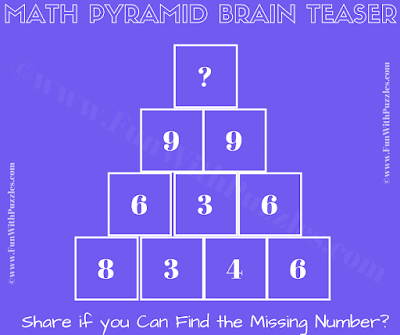 It is Maths Pyramid Riddle and Puzzle in which one has to calculate value of the missing number
