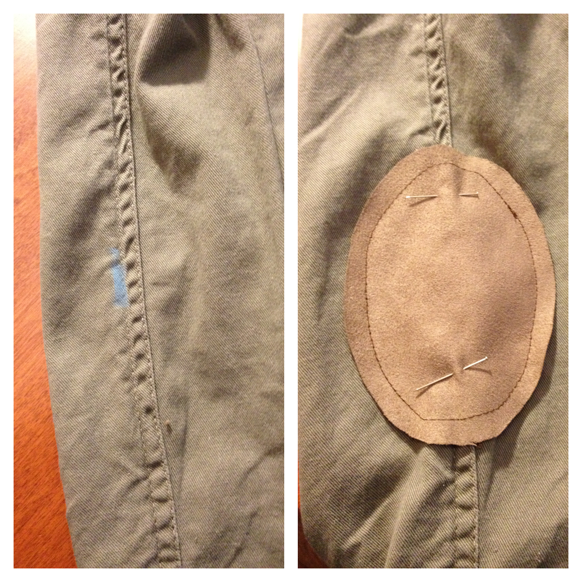 5vie diy suede elbow patches for Elbow patch template