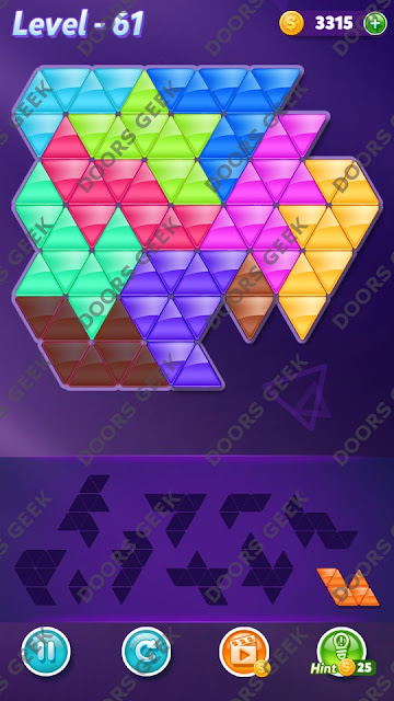 Block! Triangle Puzzle 10 Mania Level 61 Solution, Cheats, Walkthrough for Android, iPhone, iPad and iPod