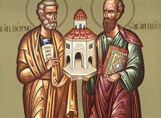 Αποτέλεσμα εικόνας για Αγίων Πρωτοκορυφαίων Αποστόλων Πέτρου και Παύλου.