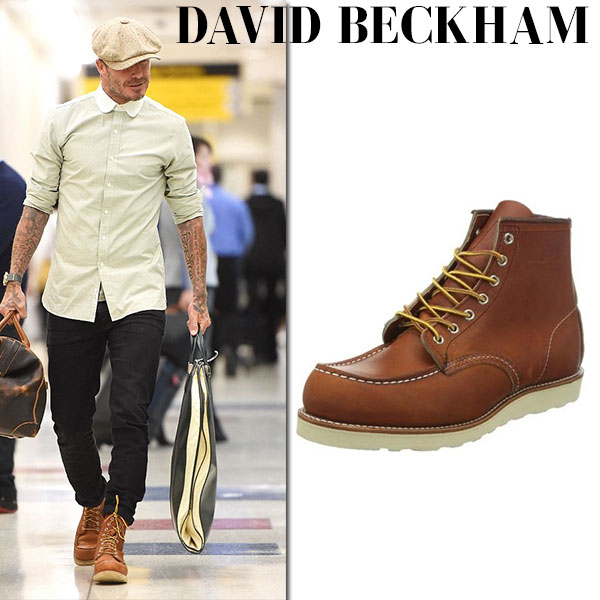 David Beckham in brown leather boots red wing shoes heritage celebrity style
