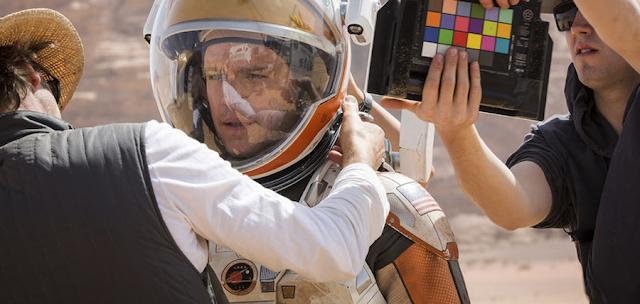 Matt Damon şi Ridley Scott la filmările pentru filmul sci-fi The Martian
