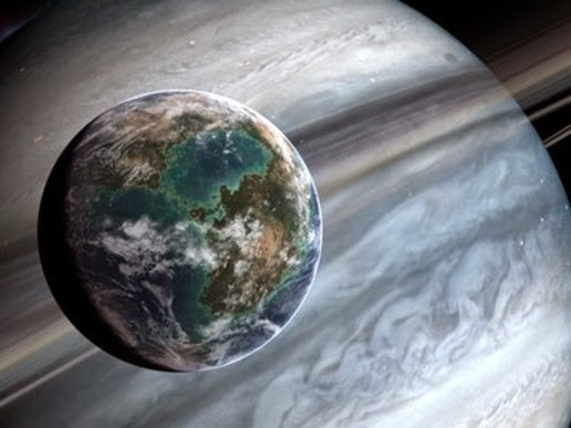 Illustration of exoplanets moon or usually called Exomoon.