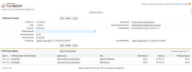 RevenueCloud Fulfillment Entry with Fulfillment Splits
