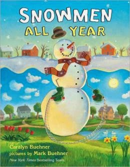 Snowmen All Year gets 5 out of 5 Stars.  This rhyming picture book is great for babies (hence the reason they have board books) all the way up to 1st or even possibly 2nd grade. Beautiful pictures, and fun hidden things to find in each picture.  It will remind you of Frozen and Olaf.  Alohamora Open a Book http://www.alohamoraopenabook.blogspot.com/