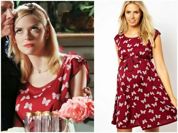 Lemon Breeland Fashion on Hart of Dixie  Jaime King Lemon's Asos burgundy butterfly print dress on Hart of Dixie