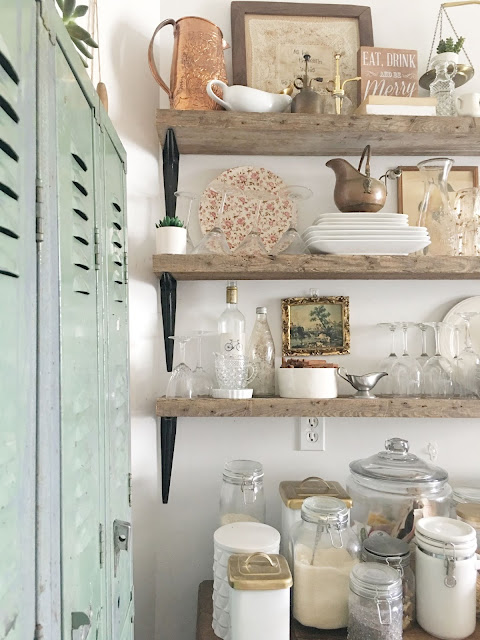 Green vintage lockers in a home