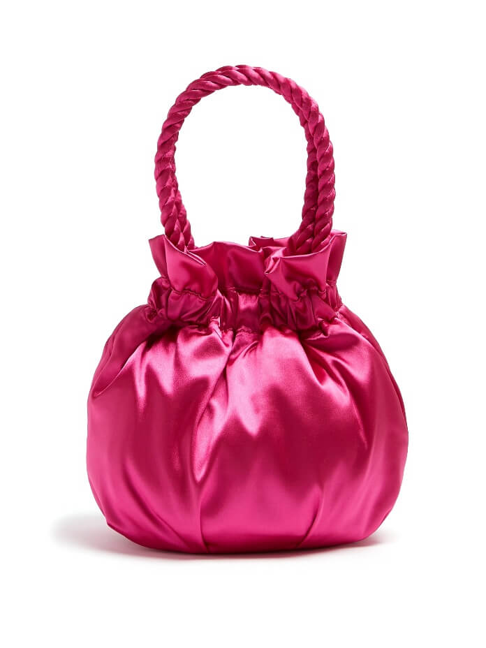 Round Slouchy Handbag in Pink Satin