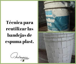 Reciclar corcho blanco. Decoración de macetas. Mosaicos con espuma plast. Consejos de minoca.uy