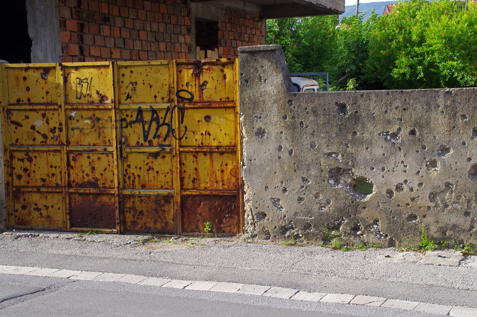 Bullet damaged walls in Mostar