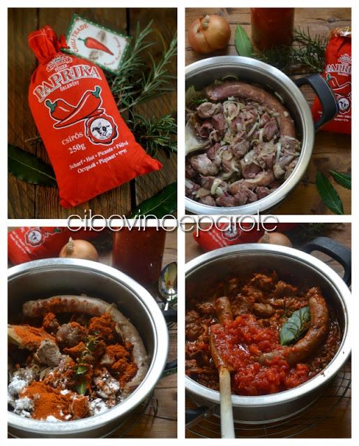Preparazione spezzatino con la paprika