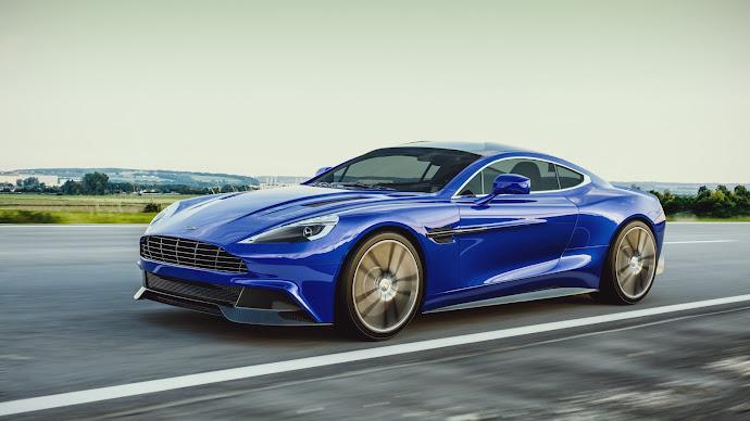 Wallpaper: Car. Blue. Aston Martin Vanquish