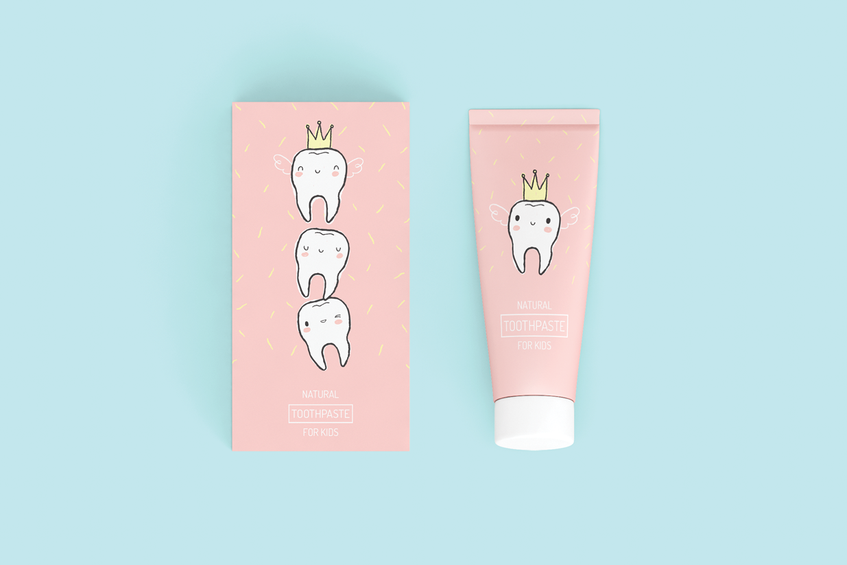 tooth fairy kids toothpaste  concept  on packaging of the
