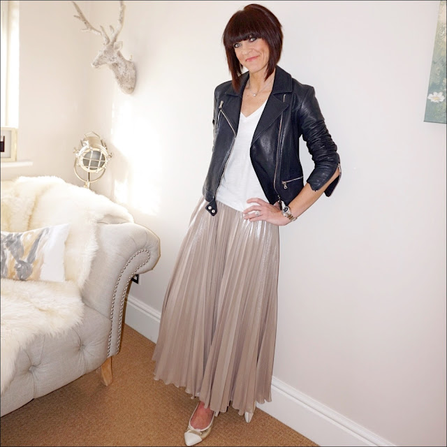 My Midlife fashion, massimo dutti leather biker jacket, j crew vintage v neck tee, jenny packham pleated metallic gold skirt, j crew pointed two tone ballet pumps