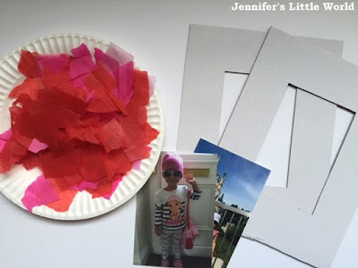 Tissue paper heart frames Valentine's Day craft