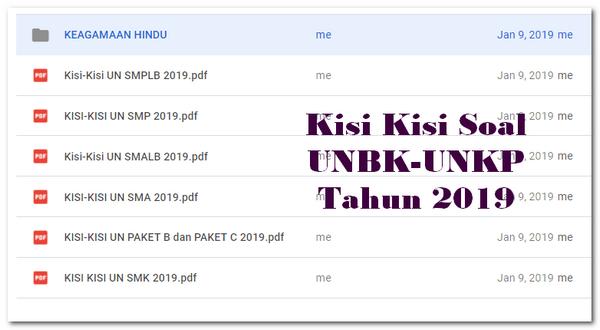 Kisi Kisi Soal UNBK-UNKP Tahun 2019