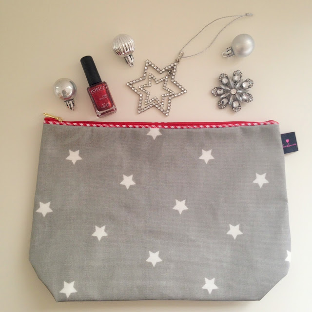 Grey star print oilcloth toiletry bag from Love Lammie
