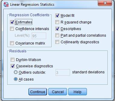 Regresi linear sederhana menggunakan spss statistik sains dari gambar di atas pada kotak regression coefficients biasanya secara default sudah tercentang estimates karena ini perlakuan koefesien regresi untuk ccuart Gallery