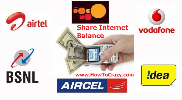 Share Your Mobile Internet Balance With Your Family or Friends (Idea, Airtel, Vodafone, BSNL, Aircel, Tata Docomo)