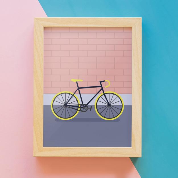 Frame mockup with bike Free Psd