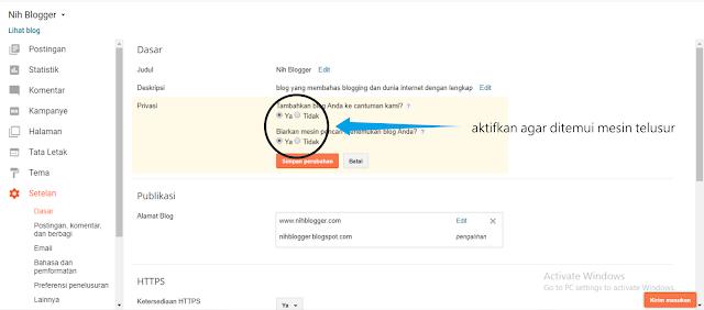 mengaktifkan fungsi penemuan di mesin pencarian pada blogger