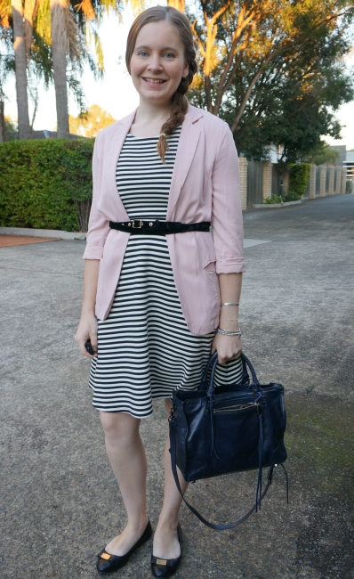 blush pink blazer and Rebecca Minkoff velvet double wrap belt, Regan bag, autumn office style | awayfromblue