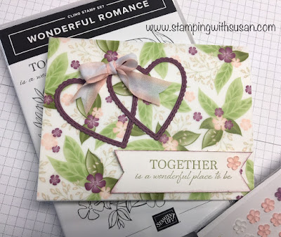 """Stampin' Up!, Wonderful Romance, Floral Romance Specialty Paper, Frosted Flower Embellishments, Petal Pink/Whisper 5/8"""" Variegated Ribbon, www.stampingwithsusan.com"""