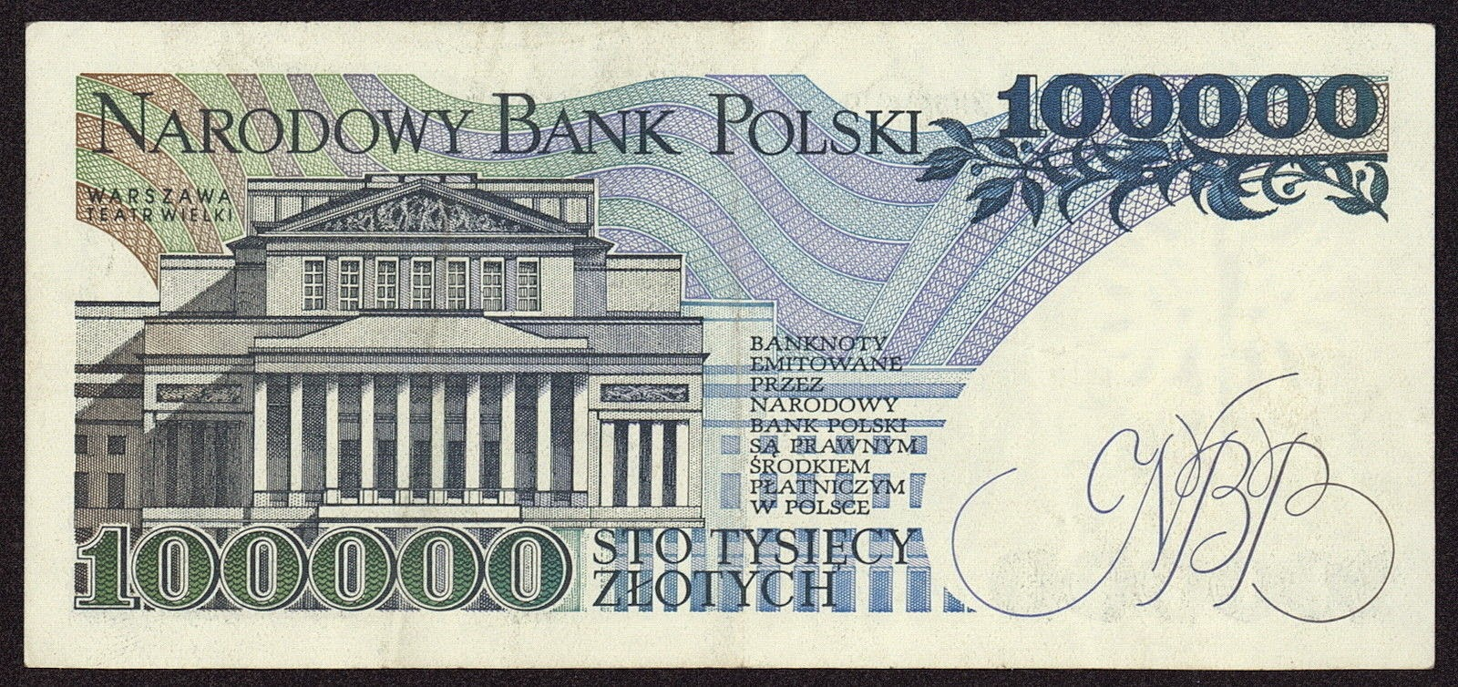 Poland Banknotes 100000 Zloty banknote 1990 Grand Theatre and National Opera in Warsaw